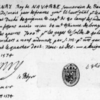 Quittance du roi de Navarre - Avignon, 31 décembre 1574 - quartier d'octobre 1574 - Cl. 634-635, fol. 43r°.jpg